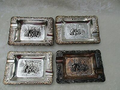 Vintage Set of 4 Small Silverplate Repousse Ashtrays