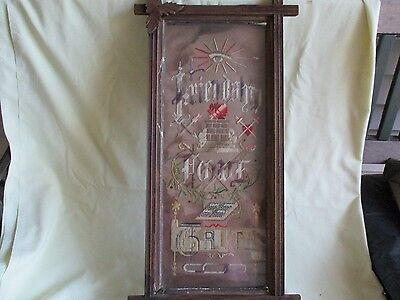 "Antique Needlepoint Embroidery Sampler  - ""Friendship-Love-Truth"""