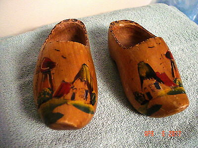 """2 Painted 7 1/4""""  Wooden Shoes Wall Hanging"""