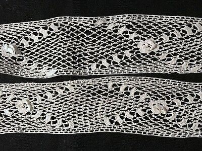 "Antique Irish Croshet Lace Trim Insert Remnants Salvage, aproximately 36"" long,"