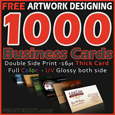 1000 Business Cards Printing 16pt thick card Full Color 2 Sides -Free Designing