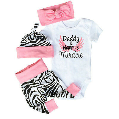 4pcs Newborn Infant Baby Headband+Hat+Bodysuit+Pants Outfit Jumpsuit Romper Set