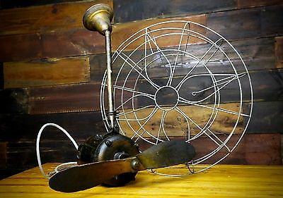 Vintage Wood Blade Airplane Propeller Ceiling Fan W/ Cage Rare Industrial Old