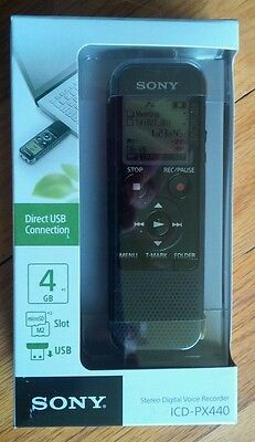 Sony ICD-PX440 4GB Digital Stereo Microphone Voice / MP3 Recording/Playback New