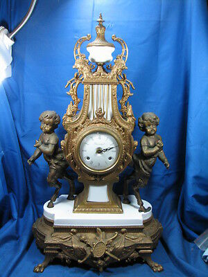 Vintage Imperial French Style Bronze Statues Clock