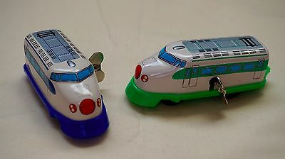 """TWO SANKO Tin Lithographed Wind up Tokyo Train Locomotives 4"""" Made in Japan"""