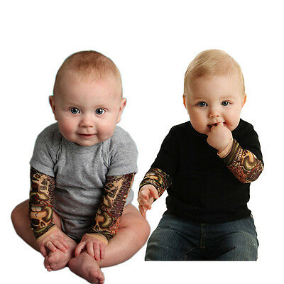 Toddler Infant Baby Boys Tattoo Sleeve Cotton Romper Jumpsuit Bodysuit Clothes