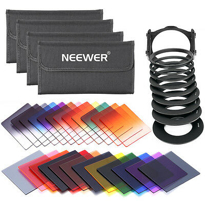 Neewer Square Full & Graduated Lens Filter Kit with Adapter Ring 49 52 …77 82mm