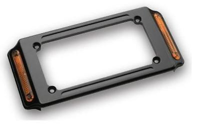 Custom Chrome Number Plate Frame w/Turn Signals Blk