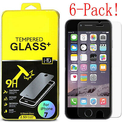 6Pc Premium Real Screen Protector Tempered Glass Film For iPhone X 6 6s 7 8 Plus