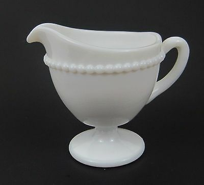 Westmoreland Milk Glass Creamer in Beaded Edge Plain White Pedestal Pattern 22