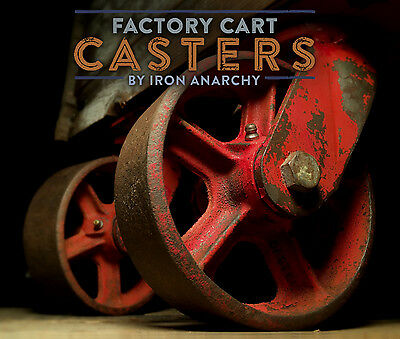 Vtg FACTORY CART CASTERS, Antique Steel Cast Iron Industrial Coffee Table Wheels