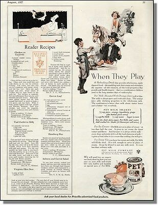 1927 Pet Evaporated Milk + Reader Recipes - Vintage Ad