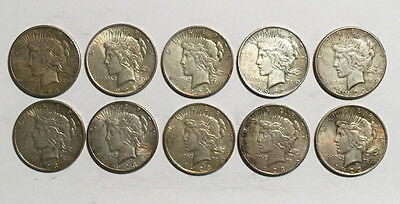 A Lot of 10 Silver Peace Dollars VG+