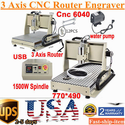USB Port 3 axis 6040 CNC Router 3D Engraving Mill&Drilling MACHINE 1.5KW CUTTER