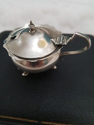 vintage hallmarked silver mustard pot no liner in good condition see photos