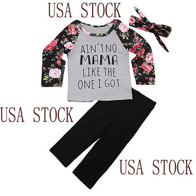 USA Toddler Kids Baby Girls Outfit Floral Tops T-shirt Pants Hairband Clothes