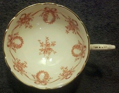 Mint Coalport Bone China Made In England Adj760 Cup Red Flowers Bows Gold Trim