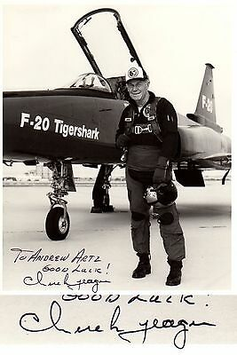 Chuck Yeager HAND SIGNED 8x10 Photograph! WWII! 1st Pilot to Break Sound Barrier