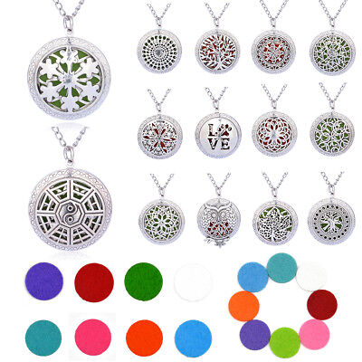 Stainless Steel Aromatherapy Essential Oil Diffuser Locket Pendant Necklace+Pads