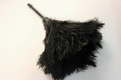 One (1) black ostrich feather duster 35cm plastic handle 1st grade 35gm head