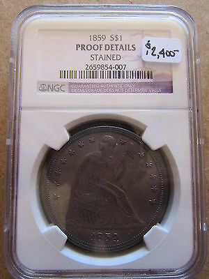 1859 Seated Liberty Silver Dollar NGC Proof Details Stained Philadelphia $1 Coin