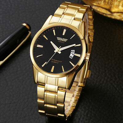 Luxury Men's Stainless Steel Band Date Analog Quartz Sport Army Wrist Watch Gold