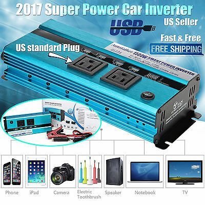 Car Caravan Inverter Power Converter 3000W Peak DC TO AC Adapter Digital Display