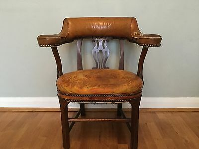 Beautiful Aged Victorian Leather leather tub chair