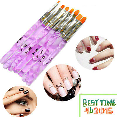 7 Nail Art UV Gel Painting Drawing Brushes Acrylic Flat Brush Set Professional