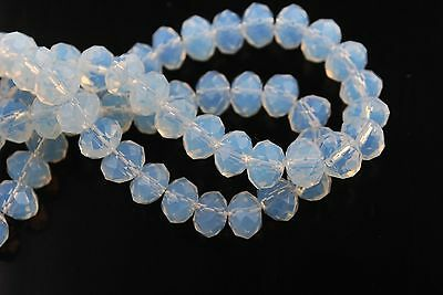 200pcs 5040# Rondelle Faceted Opal White Crystal Glass Loose Beads 3x2mm
