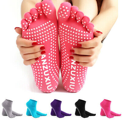 Yoga Fitness Grip Excercise Gym Five Toe Socks Rubber Pilates Non Slip Socks