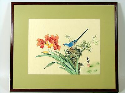 Antique Framed Chinese Watercolor Silk Painting BIRD AND FLOWERS, Signed