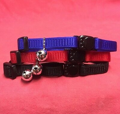 Cat kitten Collar 3x BLACK BLUE RED Safety Collar Quick Release Soft Fabric Bell