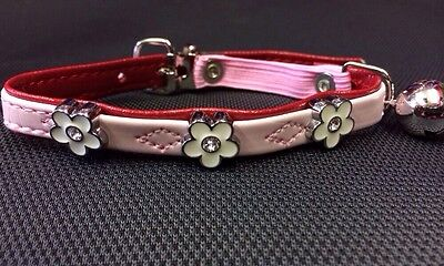 Cat Kitten Collar Rhinestone PINK White Flowers & Bell Safety Elastic Adjustable