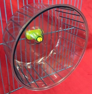 "Silent Hamster Wheel Clip On BLUE Dwarf Hamster Mice Gerbil 5.5"" clear Plastic"