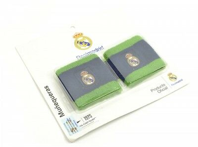 Pair Of Real Madrid Football Club Wristbands Official Crest Badge Green And Navy