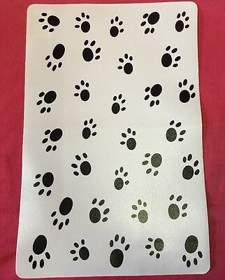 Dog Cat Feeding Placemats  Black & White Paw Prints Non Slip Place Mat 17 X 11
