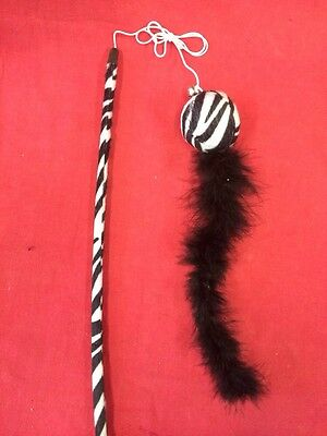 Cat Kitten Toy Catnip 9 Inch Ball Fur Tail Dangler Interactive Zebra Print