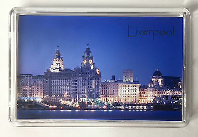 Liverpool Fridge Magnet, Liverpool Waterfront at Night. Liver Birds, Mersyside