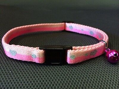 Cat kitten Collar Reflective Adj Two Tone Pink Quick Release Safety Buckle&Bell