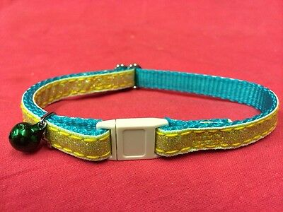 Cat kitten Collar Adj Glitter 2 Tone Yellow & Teal Quick Release Safety Buckle