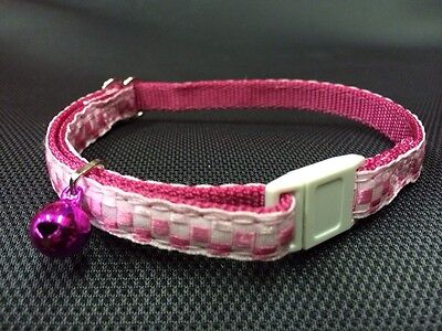 Cat Kitten Collar Adj Nylon 2 Tone Checked Pink Quick Release Safety Buckle Bell