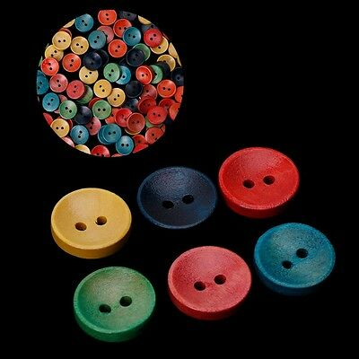 100Pcs Mixed Wooden Wood Buttons 2 Holes 15mm Sewing Scrapbooking DIY Craft