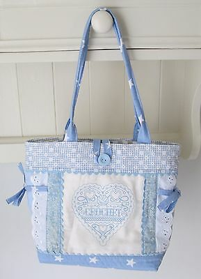 handmade patchwork with embroidered crochet motif tote bag
