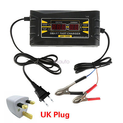 Full Automatic Smart Fast Battery Charger For Car/Motorcycle UK Plug 12V/6A fo12