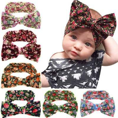 Newborn Baby Girl Floral Rabbit Ear Headband Bow Hairband Headwear Turban Wrap