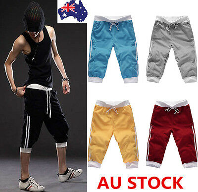 Mens 3/4 Knee Jogger Sport Shorts Pant Casual Gym Dance Running Elastic Trousers