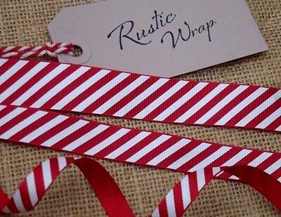 Red & White Candy Stripe Ribbon Christmas Crafts Wrapping 3, 6, 9mm 16mm & 22mm