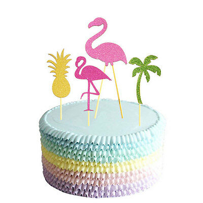 Summer Flamingo Cupcake Cake Multicolor Flags Toppers Decoration Wedding
